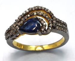 Interesting Sapphire & Diamond Ring in Sterling