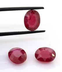 Sparkling Set of 3 Rubies, 8.62ctw.