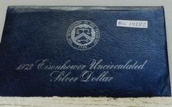 1973 Silver Unc Ike Dollar, govmt package (Blue Ike)