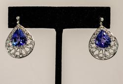 Stunning Tanzanite Earrings with Diamonds