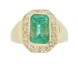 Emerald and Diamond Halo Cocktail Ring
