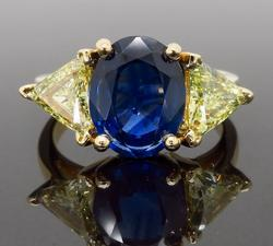 Blue Sapphire and Colored Diamond Ring