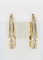 14K Yellow Gold Channel Set Diamond Earrings