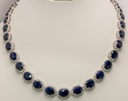Glorious Blue Sapphire & Diamond Necklace