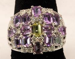 Pink Sapphire & Diamond Ring, 18KT