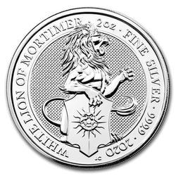 2020 2oz British Silver Queens Beast The White Lion