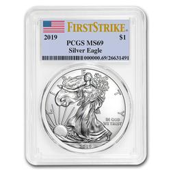 Certified Silver Eagle 2019 MS69 PCGS First Strike