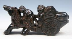 Jade Stone Nephrite Monkey Horse Sculpture