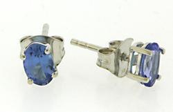 Pretty Oval Cut Tanzanite Stud Earrings