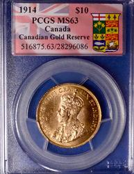 Rare MS63 1914 Canada $10 Gold, PCGS