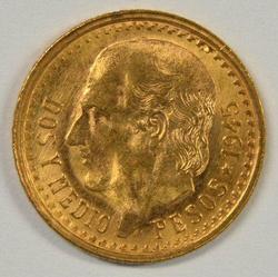 Gorgeous Gem BU 1945 Mexico 2.5 Pesos Gold Piece