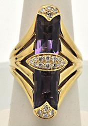 14K YELLOW GOLD AMETHYST AND DIAMOND RING.