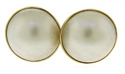 Elegant Mabee Pearl Earrings in Yellow Gold