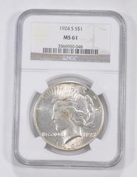MS61 1924-S Peace Silver Dollar - Graded NGC