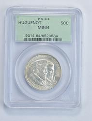MS64 1924 Huguenot Commemorative Half Dollar - OGH - Graded PCGS