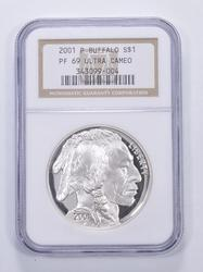 PF69 UCAM 2001-P American Buffalo Silver Dollar - Graded NGC