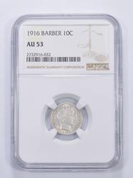 AU53 1916 Barber Dime - Graded NGC