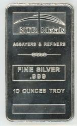 Great pure .999 Fine Silver 10 Troy Oz. NTR Silver Bar