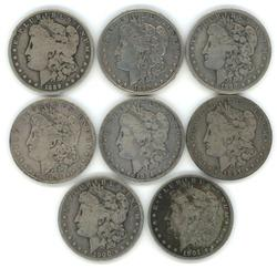 8 Diff. nice circ Morgan Silver Dollars 1879 to 1901-O