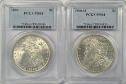 Great near Gem BU 1896 & 1900-O Morgans. PCGS MS64