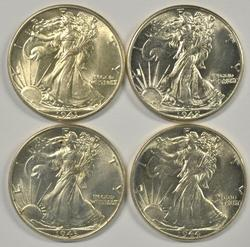 4 Choice to Gem BU Walking Liberty Halves 1941-1944