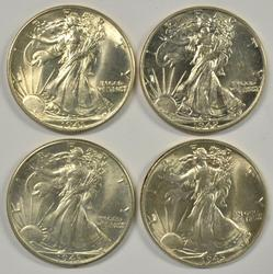 4 Choice to Gem BU Walking Liberty Halves 1941-1945