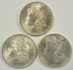 3 Diff. Fresh BU Morgan Silver Dollars 1883 to 1886