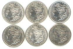 6 Diff. upper end Morgan Silver Dollars 1886 to 1900