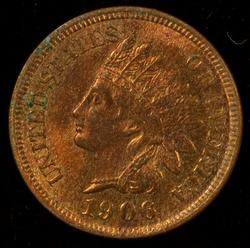 Great nearly Gem BU 1906 Indian Head Cent. Full Red