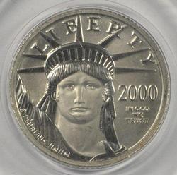 Superb Gem BU year 2000 pure Platinum $10 Eagle coin