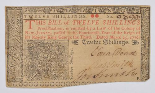 1776 12 Shillings New Jersey Colonial Currency Note