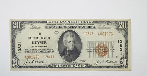 Series 1929 $20 Nat'l Bank of Keyser WV National Bank Note