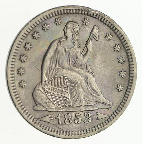 1853 Seated Liberty Silver Quarter - Variety 2 - Circulated