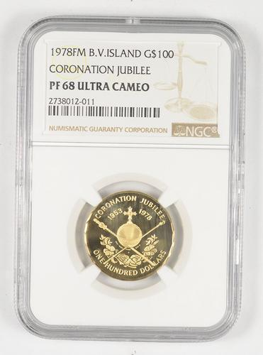 PF68 UCAM 1978 FM British Virgin Islands 100 Dollars Gold - Graded NGC