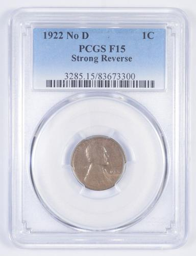 F15 1922 Lincoln Wheat Cent - No D - Strong Reverse - Graded PCGS