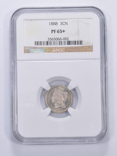 PF65+ 1888 Nickel Three-Cent Piece - Graded NGC