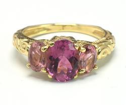 3-Stone Tourmaline & Sapphire Ring