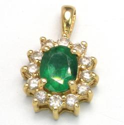 Gorgeous Emerald & Diamond Pendant in Gold