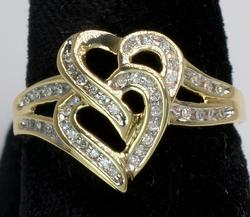 Diamond Intertwined Hearts Ring in Gold