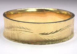 Wide Engraved Hinged Bangle in Gold