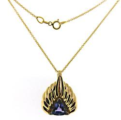Modern Tanzanite Side Pendant on Chain Necklace