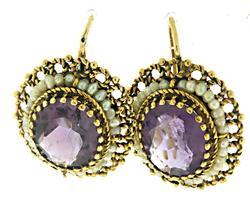 Great Amethyst and Seed Pearl Earrings