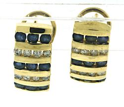 Stunning Sapphire and Diamond Channel Set Earrings