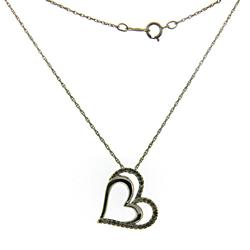 Open Heart Diamond Accents Pendant Necklace