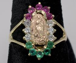 Religious Icon with Stones in Two Tone Gold Ring