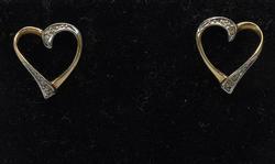 14KT Two Tone Heart Post Earrings