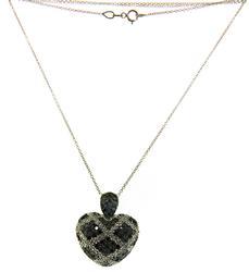 Pretty Black and White Diamond Heart Necklace