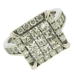 Elegant Diamond Invisible Set & Channel Set RBC Ring