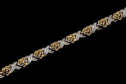 Cute X's & Hearts Two-Tone Bracelet in Gold