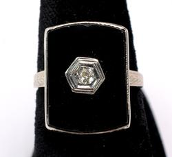 Antique Onyx Ring with Diamond Accent